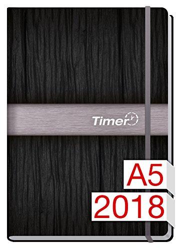 Chäff-Timer Premium A5 Kalender 2018 [Silber] 12 Monate Jan-Dez 2018 - Gummiband, Einstecktasche - Terminkalender mit Wochenplaner - Organizer - Wochenkalender