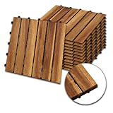 wolketon Mattonella Legno per Esterno ad Incastro Pavimentazione Giardino mattonelle piastrella autobloccante Legno di Acacia Set da 11, 30x30cm - (1 m²)