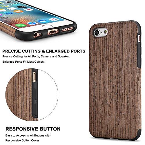 TENDLIN Coque iPhone 6s Plus Bois et Souple TPU Silicone Hybrid Slim Etui pour iPhone 6 Plus et iPhone 6s Plus (bois de santal rouge) Noir Bois de Rose