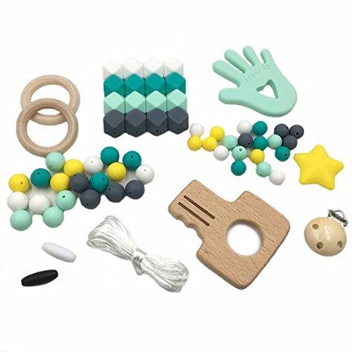 Coskiss Baby Silikon Beißring Perlen Schnuller Clips Holzschlüssel Kinderkrankheiten Zubehör DIY Schmuck Pflege Halskette Baby Beißring (A182)