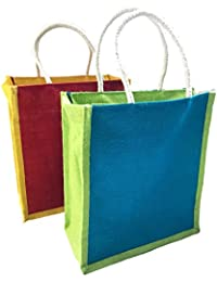 Jute Lunch Bag Printed - Combo Of 2 Shopping Jute Bag With Zip Closer, Eco-Friendly Jute Lunch Bag