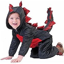 Disfraz de dinosaurio negro y rojo niño Halloween 6 a 8 años