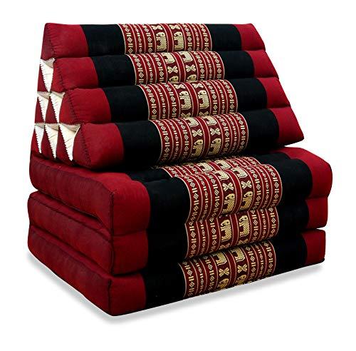 livasia Thaikissen mit 3 Auflagen, Kapok Dreieckskissen, Sitzkissen, Liegematte, Thaimatte (rot/Elefanten) -