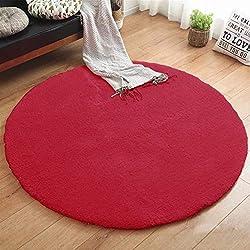 Alfombra redonda Shaggy Varios diámetros. Desde Ø 60 cm Color: Rojo