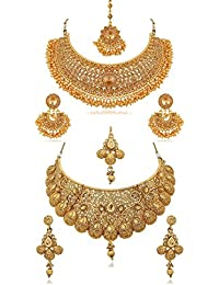 YouBella Fashion Jewellery Gold Plated Combo of Two Traditional Necklace Set for Women Party wear and Wedding wear Jewellery Set with Earrings for Girls/Women