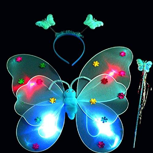 Upxiang 3 Stück Baby Mädchen LED Schmetterling Stirnband / LED Schmetterling Magic Wand / Schmetterling Flügel / reizend Partei-Kostüm-Prinzessin-Mädchen-Kind-Schmetterlings-Flügel-Stab-Stirnband-Feenhaftes Weihnachtskostüm, passt Kindergarten, Geburtstag, Hallowmas Party Kostüm (Blau)