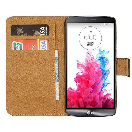 Ambaiyi Flip Echt Ledertasche Handyhülle Brieftasche Hülle Schutzhülle für LG G3s , Schwarz (Lg Fall Wasser G3)