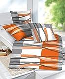 etérea 4 tlg. Doppelpack Sparset Microfaser Seersucker Bettwäsche HUNTER Streifen Orange, 2x 135x200 cm + 2x 80x80 cm