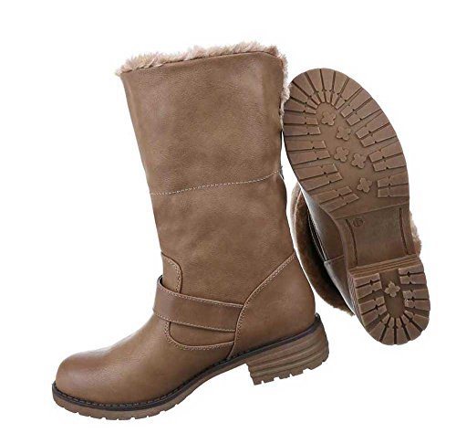 Damen Stiefeletten Schuhe Warm Gefütterte Boots Schwarz Beige