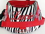 Hundegeschirr S M L XL XXL Brustgeschirr mit Wunsch Namen bestickt Kunstleder Zebra Look