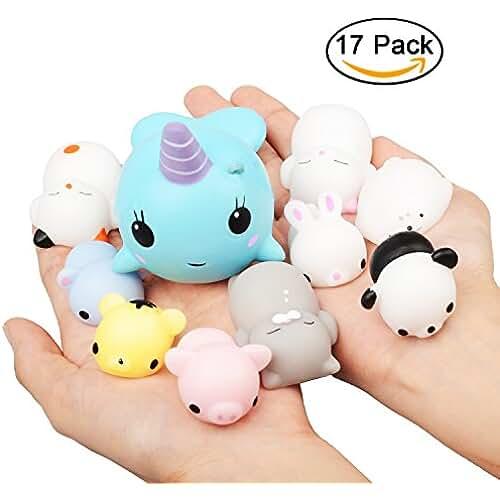 juguetes kawaii Squishys Kawaii Juguetes, EarthSave 17pcs Mochi Animales Estrés Juguetes Oso Panda Gato de Animales Squishy Alivio de Estrés Juguetes
