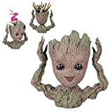 AOLVO Groot, Pflanztopf Blumentopf Groot Cartoon Blumentopf mit Loch Baby Action Figuren Guardians of The Galaxy Stiftha