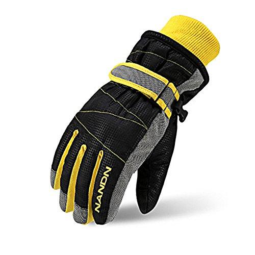 Rmine Ski Handschuhe Winddicht Regendicht Thermohandschuhe für Herren Damen Junge Kinder (Schwarz, M (9-14 jahre))