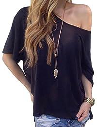Landove Blusas Sin Hombros Mujer Moda Camiseta Verano Casual Suelto Manga Corta T Shirt Pullover Tunica Tops Lisos