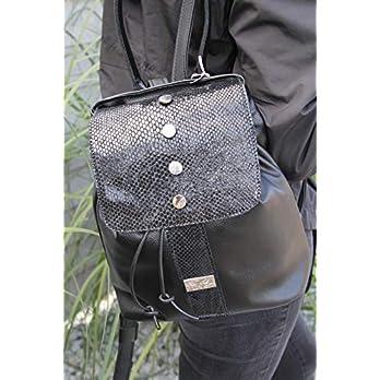 schwarzer Leder Rucksack Cityrucksack Lederhandtasche Damenhandtasche Backpack