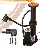 CBK-MS® Mini Fusspumpe für alle Ventile Standpumpe Luftpumpe Fahrradpumpe mit Tasche und Adapter