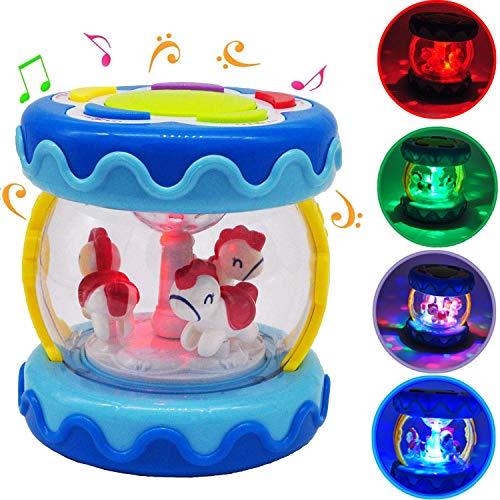 Baby Drum Instrument Musik Spielzeug Karussell Musik Drum Aktivität Spielzeug & Nachtlampe Himmel Frühes Lernspielzeug für Säuglinge und Kleinkinder im Alter von 6 Monaten bis 3 Jahren (BLAU)