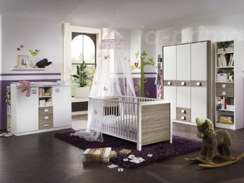 Babyzimmer Jette Set 3tlg. Weiß - Eiche sägerau
