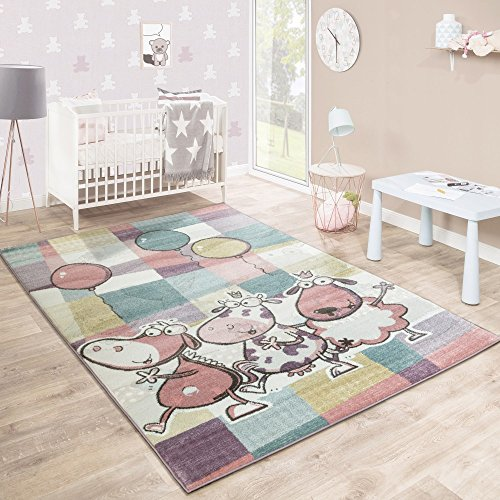 Alfombra Infantil Juegos Colorida Animales Globos Lúdica Cuadros Multicolor, tamaño:120x170 cm
