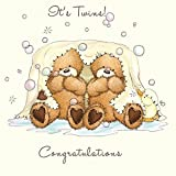 Twizler Popcorn The Bear New Twins Card with Blanket, Bubbles and Duck - New Baby Card - New Baby Boy Card - New Baby Girl Card - Newborn Card - Congratulations Card - Cute Card - New Baby Gifts - Twins Gifts