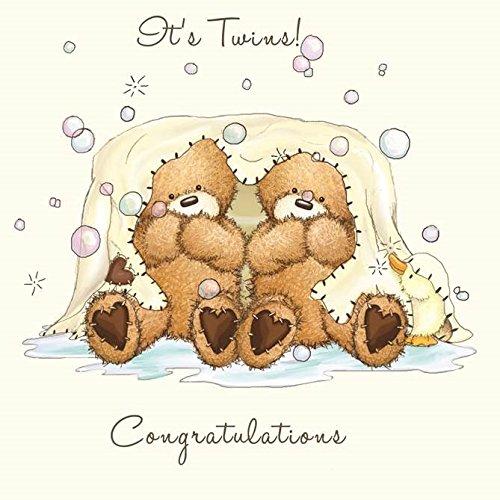 twizler Popcorn der Bär NEU Twins Karte mit Decke, Blasen und Ente–Baby–New Baby Boy Karte–New Baby Mädchen–Neugeborene Karte–Congratulations–Cute Karte–NEUE BABY-Geschenke–Twins Geschenke (Vereinigtes Königreich-ente)