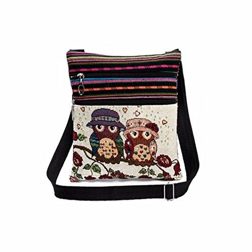 OYSOHE Damen Bestickte Eule Tragetaschen Frauen Doppelter Reißverschluss Schultertasche Handtaschen Briefträger Paket