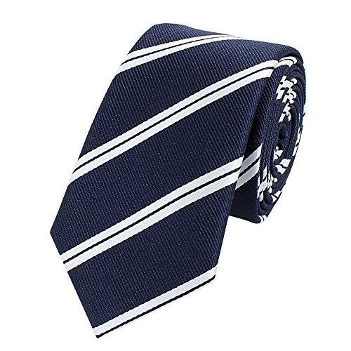 Fabio Farini Edle Krawatte, 6 cm in verschiedenen Farben, Marine-Blau Weiß gestreift