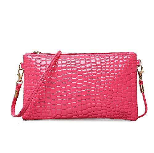 ZhiGe Portmonee Damen Frauenbrieftasche Damenbörse,Damenbörse, patent kleine Tasche weibliche Messenger Tasche Handy 0 Brieftasche PU-Leder 20 * 1,5 * 12 cm -