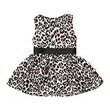 Amphia Mädchenkleid,Kinder-Baby-Mädchen-Leopard-Druck-Prinzessin Casual Dress Sundress Clothes