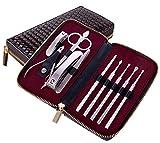 Nagelknipser Reise Set, 10-teiliges Edelstahl Professionelle Nagelknipser Maniküre-Pediküre Nagelpflege Set Mit (Braun)