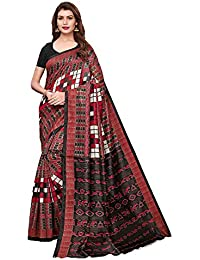 AKHILAM Women's Bhagalpuri Silk Saree with Unstitched Blouse Piece (Multi-Coloured_APHBUSP12903A_P)