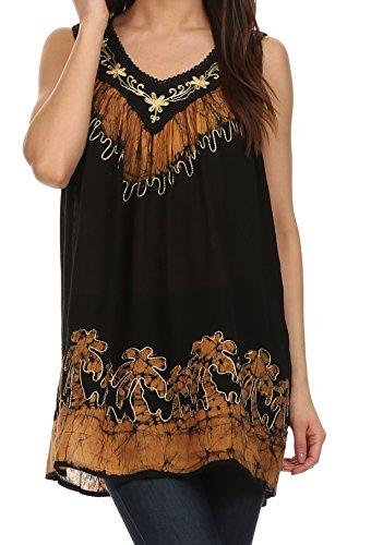 Sakkas 197-Oase gauzy Krepp ärmellose Bluse für Damen-Schwarz / Gold-einer-Größe (Batik Krepp)