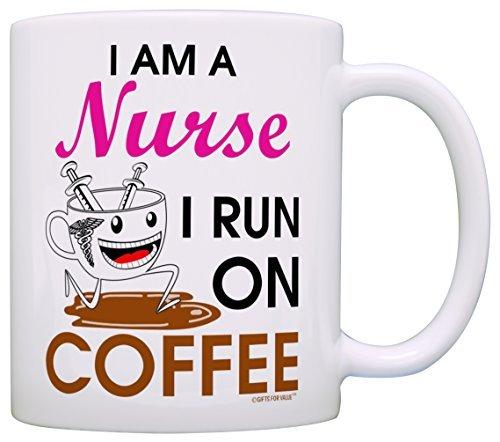 Tazza da tè con scritta in inglese'I am a Nurse I Run on Coffee' 11 ounce Infradito colorati estivi, con finte perline