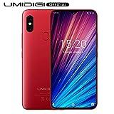 UMIDIGI F1 Play Smartphone ohne vertrag 6.3 Zoll, 64GB interner Speicher, 48MP + 8MP Dual Kamera, Android 9.0, Dual SIM, Global Version, Rot