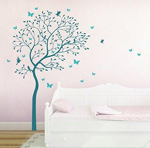 Wandtattoo Wandaufkleber Baum mit Kolibris und Schmetterlinge M1535 zweifarbig - ausgewählte Farbe: *Türkis/Helltürkis* - ausgewählte Größe: XL 120cm breit x 175cm hoch