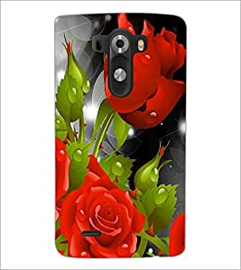 PrintDhaba Red Rose D-1094 Back Case Cover for LG G3 (Multi-Coloured)