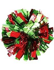 Teamsport Cheerleading Poms Spiel Pom Plastikring Rot+Grün 2 PCS