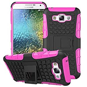 Heartly Flip Kick Stand Spider Hard Dual Rugged Armor Hybrid Bumper Back Case Cover For Samsung Galaxy E7 SM-E700F Dual Sim - Cute Pink