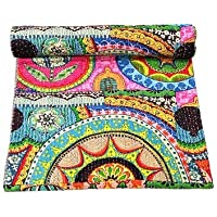 SARAWGI King Size Multi Color Patch Work Print Indian Kantha Quilt , Hand Stich Quilted Bedspread. bedcover. Throw…