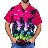 Skxinn Hawaiihemd,Herren,Kurzarm,Hawaii-Print,Strand Palmen Meer,3D Gedruckt Strand Hemden,Freizeit Hemd Button Down Graphic Hemden T- Shirts M-3XL Ausverkauf(Pink,XXX-Large)
