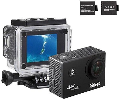 Action Cam, Sainlogic Unterwasser Kamera 4K,WIFI Wasserdicht Cam 16 MP Ultra FHD Helmkamera met 2 Akkus und Zubehör