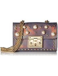 Steve Madden Prince Push Lock Mini Flapover Crossbody With Pearls, Ladies PU Satchel