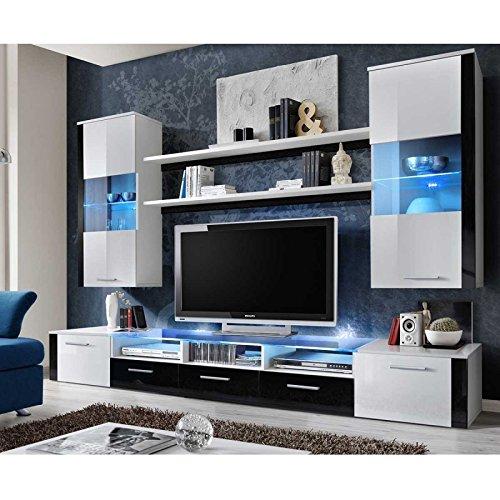 AC-Déco Ensemble Mural - Fresh - 1 Meuble TV - 2 vitrines Verticales - 2 étagères - Blanc et Noir - LED