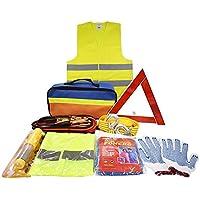 Kits d'urgence pour auto avec Jumper Câbles, corde de remorquage, Triangle de sécurité, lampe de poche, marteau fenêtre