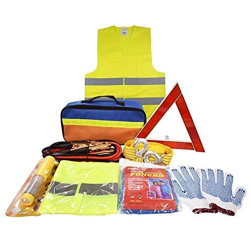 Pannenhilfe Notfall-Werkzeugset fürs Auto mit Starthilfekabel, Abschleppseil, Warndreieck, Taschenlampe, Sicherheitshammer