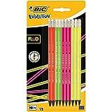 BIC Evolution Fluo Crayons à Papier avec Gomme - HB, Blister de 12
