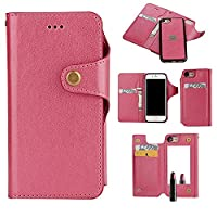 iPhone6 Plus /6S Plus Case,PU Leather Wallet Cover with Cosmetic Built-in Mirror and Card Slot for Women (Rose)