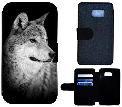 Flip Cover Schutz Hülle Handy Tasche Etui Case für (Apple iPhone 6 / 6s, 1612 Wolf Schwarz Grau) 1612 Wolf Schwarz Grau