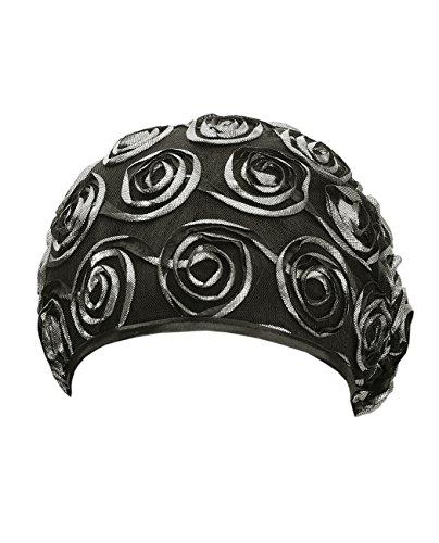 Superbe turban légé et extensible en filet décoré de fleurs. Produit offert par NYfashion101. Noir/Argent