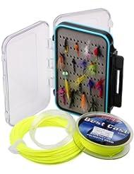 Freefisher - Set de moscas para pesca (caja + 30 moscas + Sedal de mosca + línea de mosca + backing)